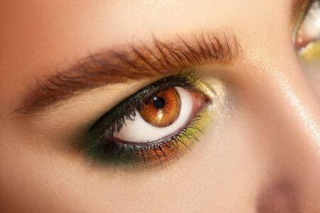 ojos marrones: Foto macro horizontal de ojos marrones con maquillaje colores verdes. tiro del estudio. acercamiento.