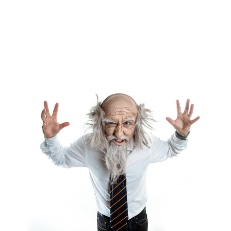 crazy old man on a white background in studio on white background