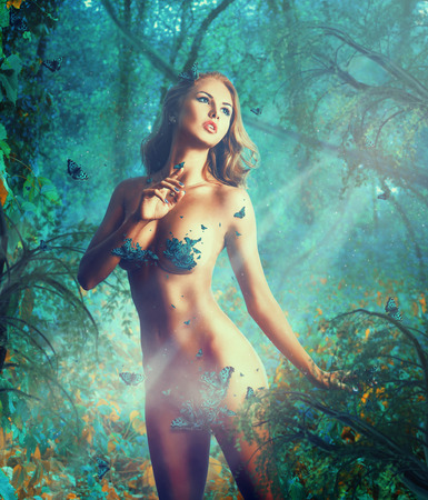 breasts erotic: Dreaming sexual slim woman with big natural breast and butterflies in studio Stock Photo