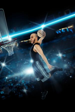 Basketball player makes slam dunk on stadium. NBA game. Basketball game. Sportsman plays basketball.
