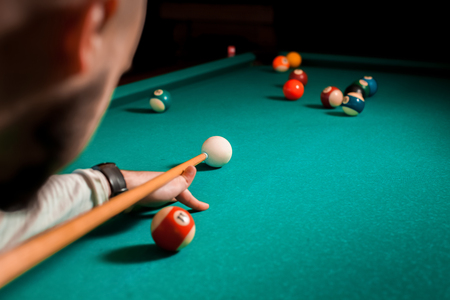 Fragment of the pool billiard game in process. Stockfoto