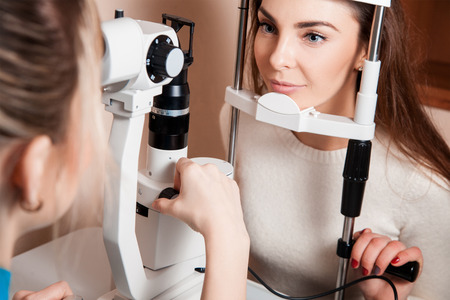 fundus: patient during an eye examination at the eye clinic. Stock Photo