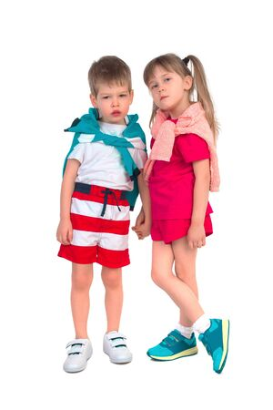 frendship: Young children holding hands on a white background
