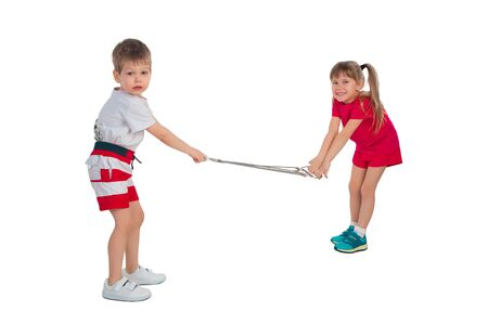 expander: Girl and boy stretch the expander on a white background