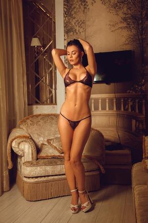 seductress: Slim sexual brunette woman in beautiful lingerie posing indoors
