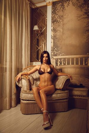 seduce: portrait of sexual young woman in beautiful lingerie looking at the camera and sits on a chair at home