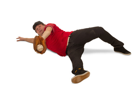 Man is playing a baceball Stock Photo