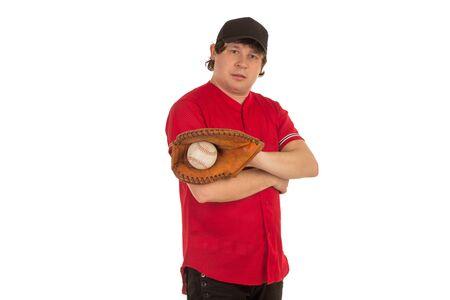 caught: Baceball player has caught a ball