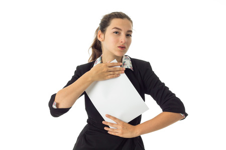 surgeons hat: portrait of charming brunette business woman in uniform with white placard in hands isolated on white background