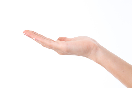 female hand showing the gesture with a deployed up to her hands isolated on white background