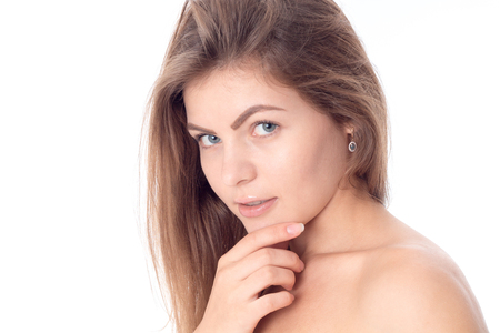 young beautiful girl with her hair without makeup close-up