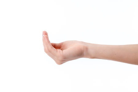 part of me: la mano extendida hembra a un lado con las manos dobladas aislado en blanco