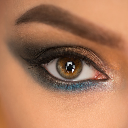Close up of beautiful female eye with make up