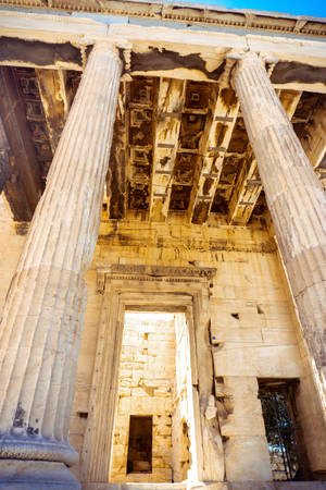 close up of columns of the ancient Greek Acropolis