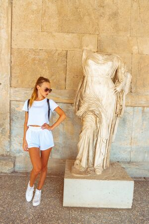 young girl at the museum of ancient greece