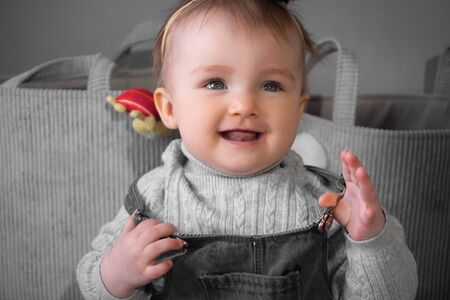 happy little baby girl smiles at home Imagens