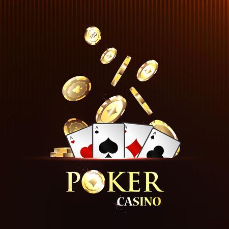 Pocker casino gambling set with cards and chips vector illustration Illustration