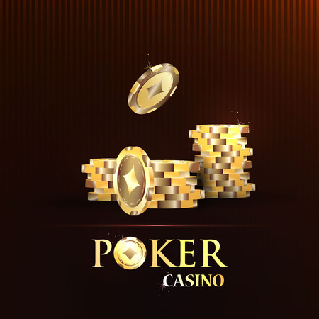 casino dealer: Gold chips, the concept of a casino.