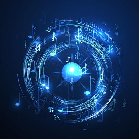 vector illustratie met neon lijn abstracte muziek achtergrond