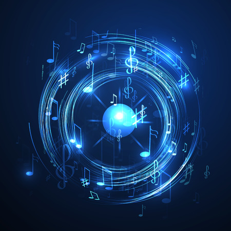 vector  illustration with neon line  abstract  music background Vector