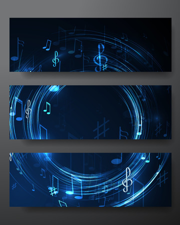 set vector  illustration with neon line  abstract  music banners Vector