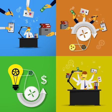 command structure: Set business background of flat icons and people