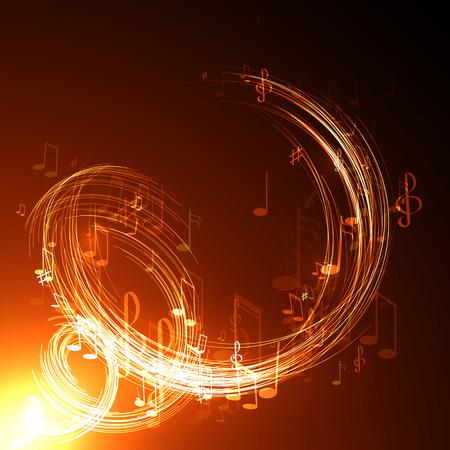 Ilustración vectorial con la línea de neón de la música de fondo abstracto Foto de archivo - 35956336