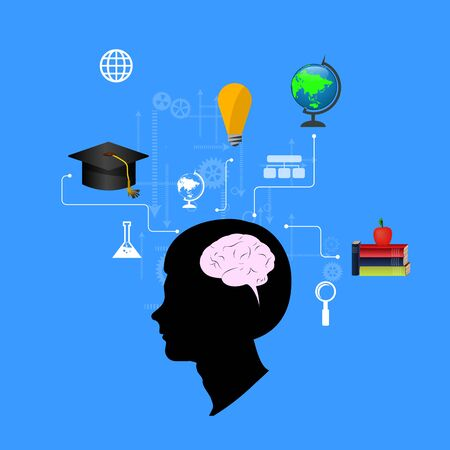 scholastic: The concept of education, science and knowledge. vector