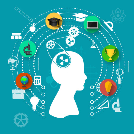 education, online learning and tree of knowledge icons in flat style Stock Illustratie