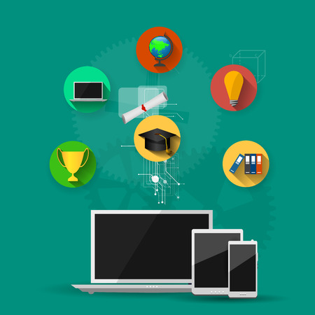 assimilation: education, online learning and tree of knowledge icons in flat style Illustration