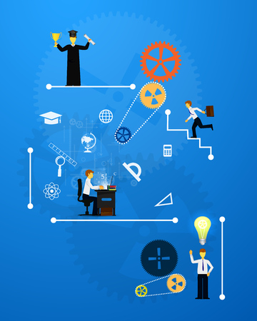 education, online learning and tree of knowledge icons in flat style Illustration