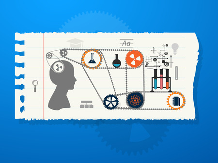 scholastic: education, online learning and tree of knowledge icons in flat style Illustration