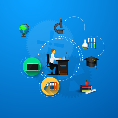 sources: education, online learning and tree of knowledge icons in flat style Illustration