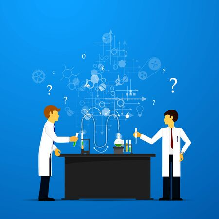savant: Process Research in a chemical laboratory. The concept of science, medicine and research. Illustration