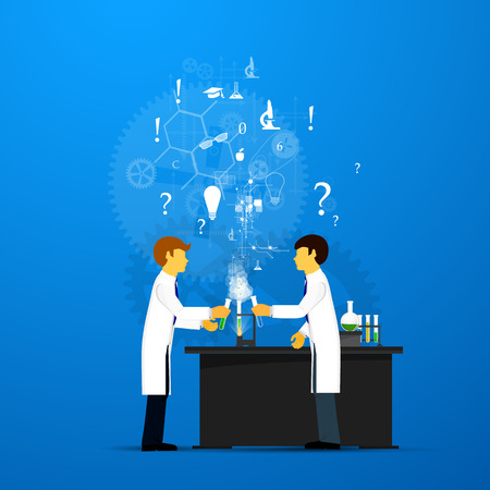 interdisciplinary: Process Research in a chemical laboratory. The concept of science, medicine and research. Illustration