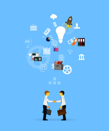 entrepreneurship: Vector illustration of teamwork, showing the transaction, graphics, cooperation Illustration