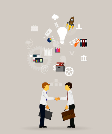 corporations: Vector illustration of teamwork, showing the transaction, graphics, cooperation Illustration