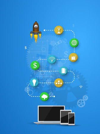 command button: Vector illustration of teamwork, showing the transaction, graphics, cooperation Illustration
