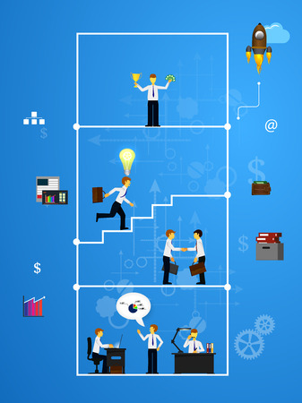 command structure: Vector illustration of teamwork, showing the transaction, graphics, cooperation Illustration