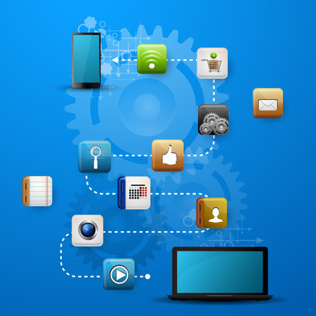 Vector illustration use of cloud computing storage and applications on a mobile device with a set of flat icons