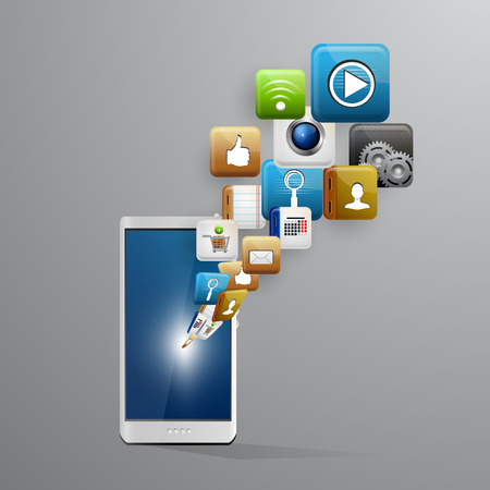 Vector illustration use of cloud computing storage and applications on a mobile device with a set of flat icons Vector