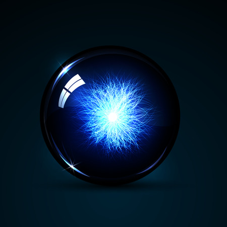 magic ball: illustration magic ball with neon lines inside on a dark background
