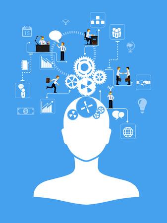 ビジネス infographics テンプレート。人間、アイコンおよび歯車とスキーム  イラスト・ベクター素材