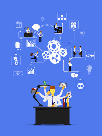 command structure: Business infographics template. Scheme with humans, icons and gears