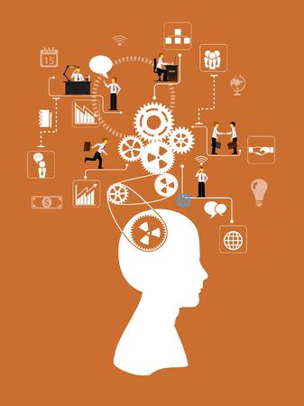 emprendimiento: Plantilla infograf�a negocio. Esquema con las personas, los iconos y engranajes