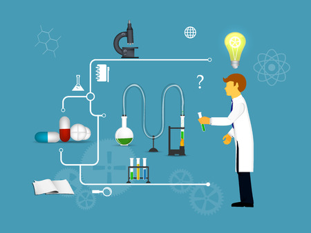 chemical laboratory: Process Research in a chemical laboratory. The concept of science, medicine and research. Illustration