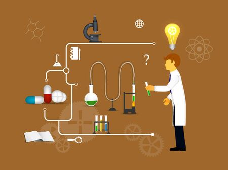 Process Research in a chemical laboratory. The concept of science, medicine and research. Illustration