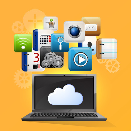 storage device: Vector illustration use of cloud computing storage and applications on a mobile device with a set of flat icons