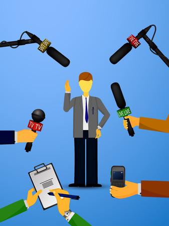 Vector illustratie van een concept live nieuws, reportages, interviews, voice recorders, microfoons in de handen van journalisten. Live nieuws template. Druk illustratie.
