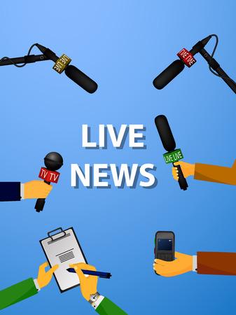 コンセプト ライブ ニュース、レポート、インタビュー、ボイス レコーダー、ジャーナリストの手の中にマイクのベクトル イラスト。ライブ ニュー